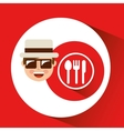 tourist man with camera and dinner sign vector image