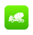 truck concrete mixer icon digital green vector image vector image