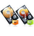 Two Hard disk drive HDD with price badge vector image vector image