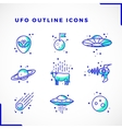 UFO or Alien Icons Set Outline Style vector image