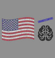 usa flag stylization brain and scratched vector image vector image