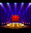 winner podium art red chair on scene vector image vector image