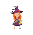 young red-haired girl witch standing with arms vector image vector image