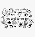 hand drawn sweet collection set with tea pot vector image