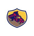 Dump Truck Shield Woodcut vector image