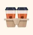 two take-out coffee in holder vector image