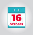 16 october flat daily calendar icon vector image vector image
