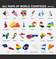 all maps world countries and flags set 8 of vector image
