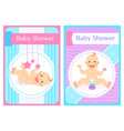 bashower greeting cards child sits and lays vector image vector image