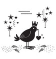 black silhouette cute bird with heart ornament vector image vector image