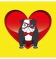 bulldog with glasses red bow vector image