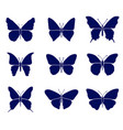 butterflies silhouettes set vector image