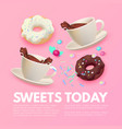 cafe ad design template coffee sweets and ice vector image vector image