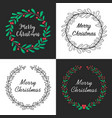 christmas wreath with floral decoration vector image