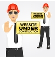 construction engineer holding a yellow sign vector image