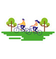 couple riding bike in the landscape vector image