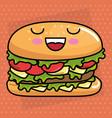 delicious burger kawaii character vector image vector image