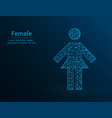 female low poly woman icon on blue background vector image vector image