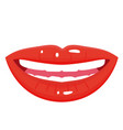 female red smile icon laughing positive shiny vector image vector image