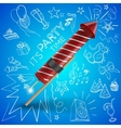 fireworks with drawing party objects vector image vector image