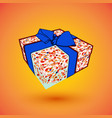 gift box present with blue bow anrd ibbon eps10 vector image vector image