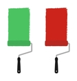 Green and red paint rollers vector image vector image