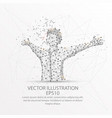 happy man form low poly wire frame on white vector image vector image