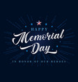 happy memorial day lettering with stars and beams vector image vector image