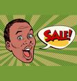 head pop art style sale african man vector image vector image