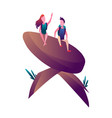 hiking man and with backpack travellers or vector image vector image