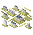 isometric university set vector image vector image