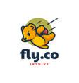 logo skydiving bear mascot cartoon style vector image vector image