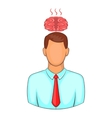 Man overheated brain icon cartoon style vector image