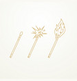 matches lighted match and burning match sketch vector image vector image