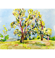 original watercolor painting of summer tree vector image