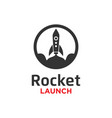 rocket launch logo design template vector image