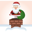 santa claus up chimney with bag gift snow design vector image vector image