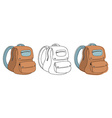 School bag in 3 styles vector image vector image