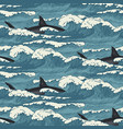 seamless pattern with sea waves and sharks vector image