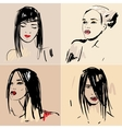 Set of sketch beautiful girls vector | Price: 1 Credit (USD $1)