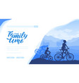 silhouette family riding bicycle in nature vector image vector image