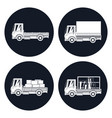 small trucks with different loads icons vector image vector image