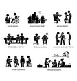 social workers stick figure pictogram icons vector image vector image
