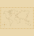 vintage world map old hand drawn art vector image vector image