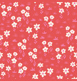 white flowers seamless pattern on a red vector image vector image