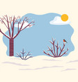 winter landscape with snow on trees branches twigs vector image vector image