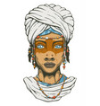 woman in turban vector image vector image