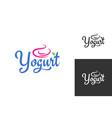 yogurt cream logo frozen yogurt label set vector image