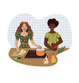 young people prepare food in kitchen from vector image vector image
