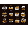 Brewery set logo label element Craft beer vector image